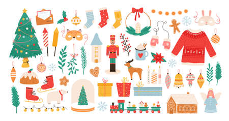 Christmas stickers. Winter holiday decorations, xmas tree, gift boxes, baubles, masks, candles and gingerbread man. New Year flat vector set