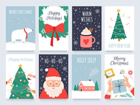 Scandinavian christmas cards. Cozy winter holiday, noel and new year celebrations with cute santa, polar bear and tree decoration vector set 向量圖像