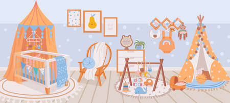 Nursery interior. Baby room with crib bed, armchair, carpet, toy and wigwam. Cartoon kids bedroom with furniture and decoration vector scene 向量圖像