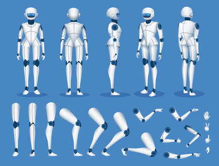 Robot android character. Futuristic cyborg artificial intelligence mascot poses for animation. Humanoid robot constructor element vector set