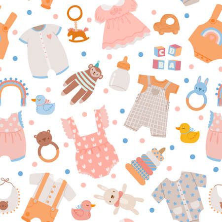 Baby shower seamless pattern. Cute newborn clothes, toys and accessory for boys and girls, bottle, dress and bodysuit. Nursery vector print 向量圖像