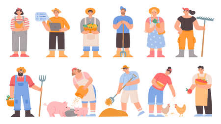Cartoon farmers. Agricultural workers hold vegetables and farming tools, feed pig and chickens, dry hay. Garden or farm character vector set