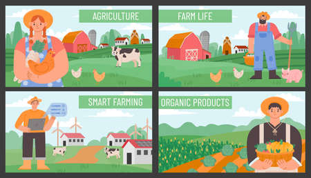 Farm banners. Posters with countryside agriculture landscape and farmers. Smart and eco farming technology. Organic farm products vector set