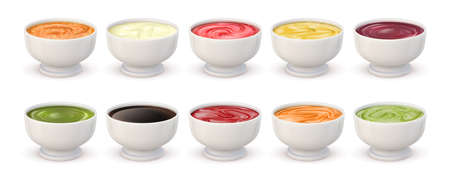 Dip sauces top view. Bowls with mayonnaise, tomato ketchup, mustard, pesto, curry and guacamole. Realistic spicy seasoning sauce vector set 向量圖像