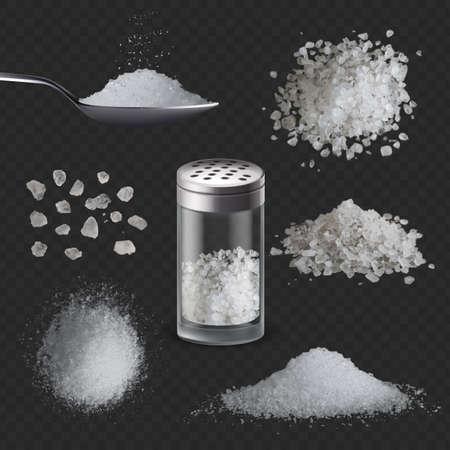 Realistic salt. 3d white salty powder spice in spoon. Sea edible rock salt in glass shaker bottle, grains and piles. Seasoning vector set