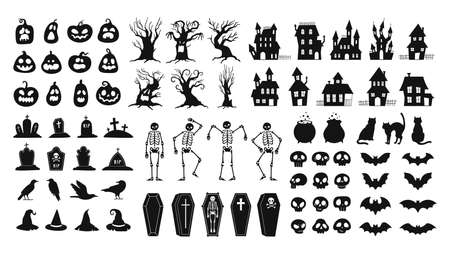 Horror silhouettes. Scary halloween decor skulls and skeletons, witch hats, black cats, crows and graveyard coffins. Spooky house vector set 向量圖像