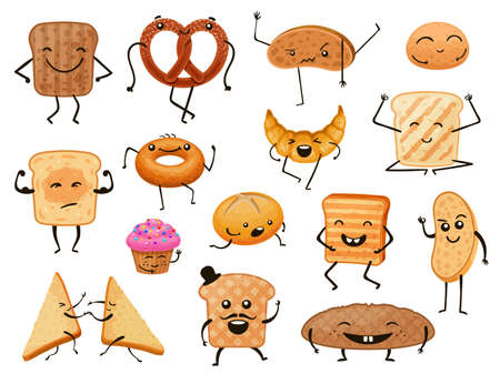 Bread characters. Funny cartoon bakery products, loaves, toasts and sweet pastry. Breakfast croissant and muffin with cute faces vector set