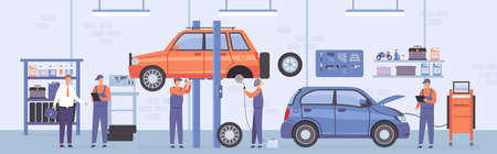 Car repair workshop. Auto service interior with mechanic workers, lifted cars and customer. Automobile maintenance center flat vector scene