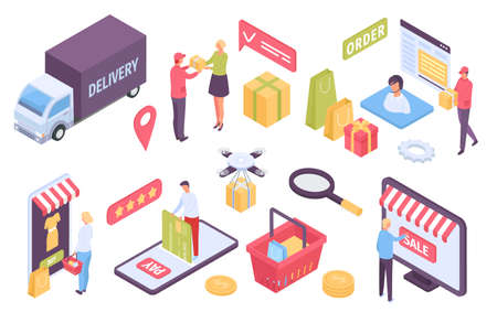 Isometric E-commerce. Customers shopping in online store and paying with card. Delivery by truck, drone or courier. Marketplace vector set