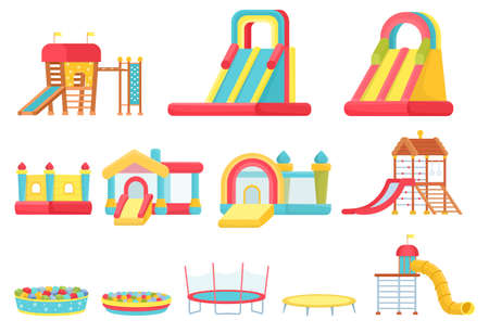 Cartoon trampolines. Children play room elements, inflatable castles and slides, game house and soft ball pool. Indoor playground vector set Ilustración de vector