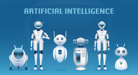Robot group. Cartoon modern artificial intelligence characters, androids and robots mascots. Futuristic technology machines vector concept