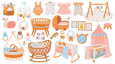 Newborn accessories. Nursery room interior elements, furniture and decor. Cradles, toys and baby dress and clothes in boho style vector set 向量圖像