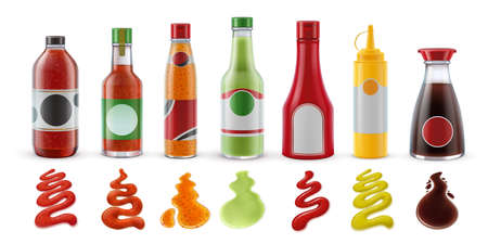 Realistic sauces in bottles. Hot chili, tomato ketchup, guacamole, mustard and soy sauce in glass packaging and condiment splash vector set