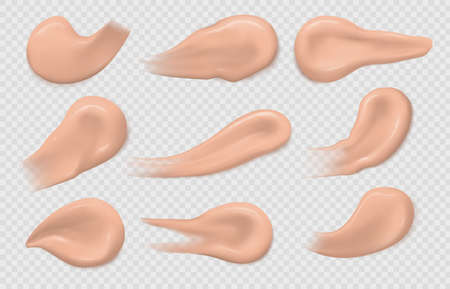 Concealer smears. Realistic skin foundation strokes texture. Makeup smudge swatches, cosmetic base tone cream samples 3d isolated vector set 向量圖像