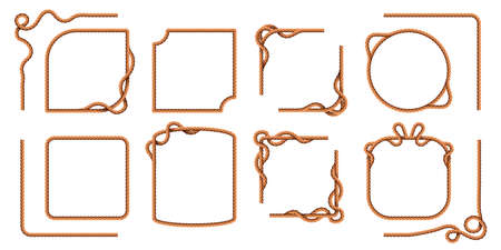 Rope frames. Hemp thread square and round borders, curved nautical cord lines. Realistic cartoon sailor jute strings and twines vector set 向量圖像