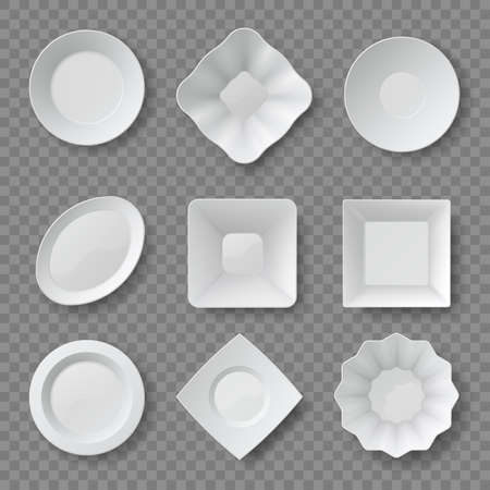 Realistic food plates. Empty white round and square dishes and bowls. Ceramic plate top view 3d mockups. Clean kitchen tableware vector set