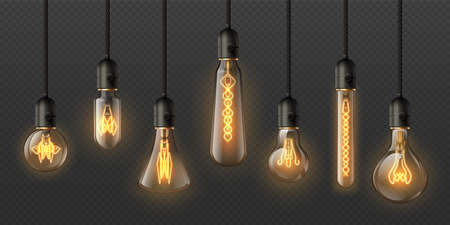 Realistic edison light bulbs. 3d retro hanging steampunk lamps with incandescent lightbulb. Electrical decorative glowing pendant vector set