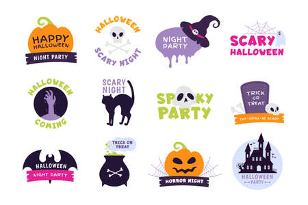 Halloween logo. Trick or treat labels and sticker for scary holiday with pumpkins, skulls and ghost. Happy Halloween party badge vector set 向量圖像
