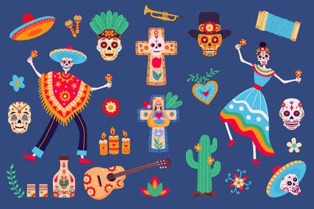 Day of dead elements. Skeleton characters in mexican clothes, sugar skull, sombrero, cactus and tequila. Dia de los Muertos party vector set 向量圖像