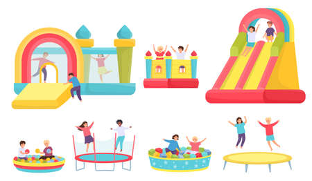 Children jumping on trampolines. Cartoon boys and girls in bouncy castle and inflatable trampoline. Kids in soft pool with balls vector set