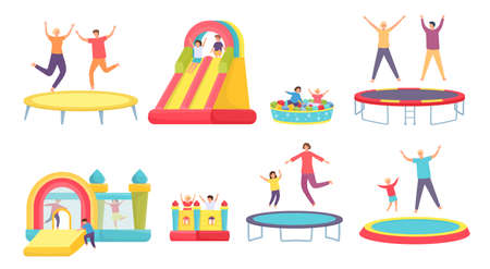 People jump on trampoline. Happy adults, kids and family bounce on trampolines, inflatable house and slide. Active entertainment vector set