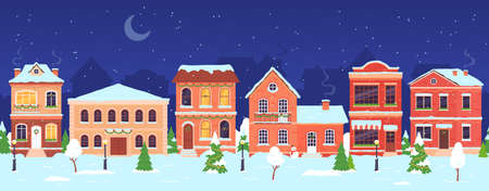 Christmas town. Night winter wonderland street with houses decorated for holidays and New year. Snow village seamless landscape vector scene 向量圖像
