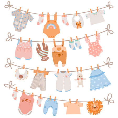 Baby clothes on rope. Newborn children apparel, socks, dress and toys hanging on clothesline. Kids laundry drying on clothespin vector set 向量圖像
