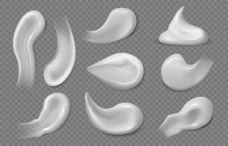 Cosmetic white cream. Sunscreen gel texture, skincare product smears and strokes. Face skin moisturizer mousse, creams isolated vector set
