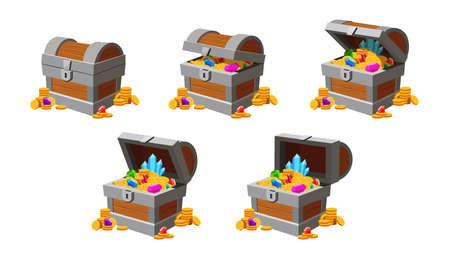 Treasure chest opening animation. Game money box with gold coins, diamonds and crystals. Cartoon closed and open pirate chests vector frames