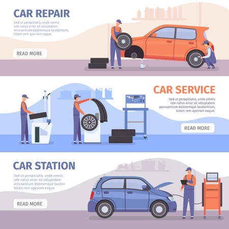 Auto repair service banner. Car workshop posters with workers fix cars and wheel tires. Vehicle mechanic maintenance advertising vector set