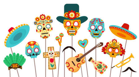 Dead of day photo booth. Skull masks, sombrero and props for Dia de los Muertos party. Mexican halloween holiday decorations flat vector set 向量圖像