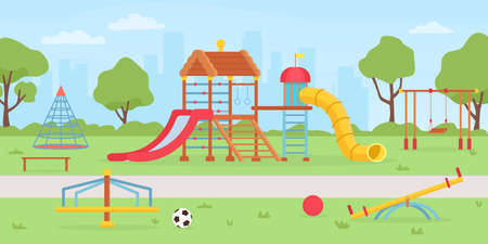 Playground at park. School or kindergarten background with sandbox, playhouse, swings and slides. Summer kids playground vector landscape
