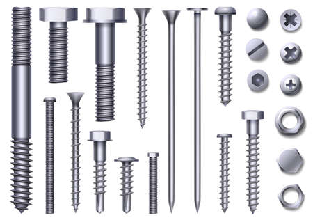 Realistic metal bolts, steel nuts, rivets and screws. Stainless construction hardware top and side view. Chrome bolt and pin head vector set