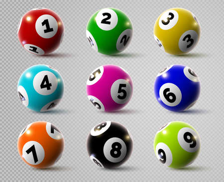 Realistic lottery bingo or keno game balls with numbers. 3d lotto or billiard ball. Lucky gambling sport, casino lottery spheres vector set
