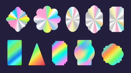 Silver shiny foil holographic stickers geometric shapes. Official product rainbow hologram label and seal. Quality certification vector set