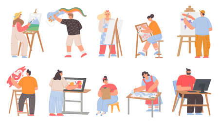 Art painters, digital artists and graphic designer characters. Men and women draw painting on canvas easel. Creative job or hobby vector set