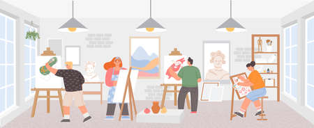Workshop classroom with artists painting art work on easels. Painters man and woman. Creative draw courses studio, paint class vector poster