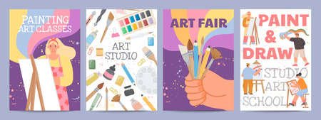 Art school or classes posters with characters and painting supply. Creative drawing course banners with paint brush and material vector set