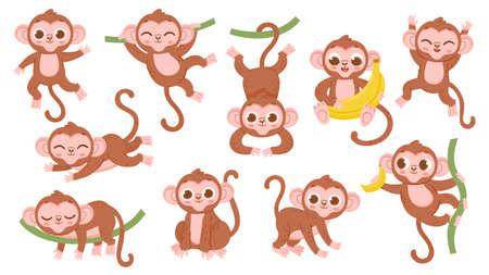Cute cartoon jungle baby monkey character poses. Exotic tropical animal mascot, ape jumping on tree, holding banana and sleeping vector set