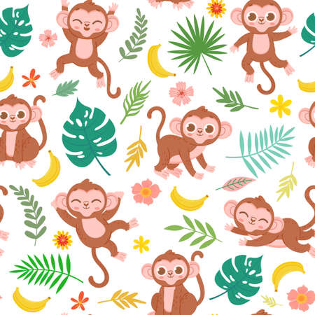 Seamless pattern with baby monkey, banana and tropical leaves. Cartoon childish jungle animal print for fabric. Cute monkeys vector texture