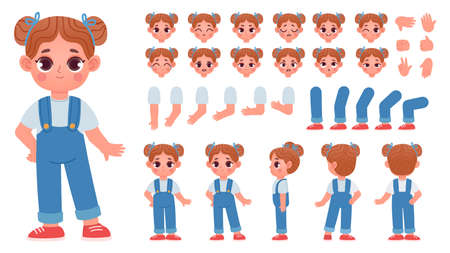 Cartoon little girl character constructor with gestures and emotions. Child mascot side and front view, body parts for animation vector set 向量圖像