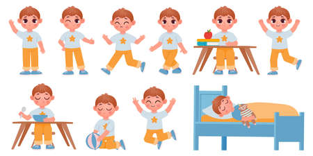 Cartoon kid boy character poses, gestures and expressions for animation. Happy school child playing, sleeping, waving and running vector set