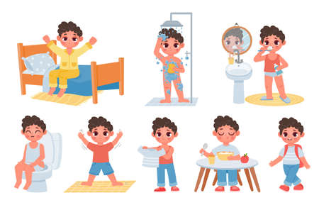 Child morning daily routine with cute cartoon boy character. Kid wake up, do hygiene, brush teeth and sit on potty. Day schedule vector set 向量圖像