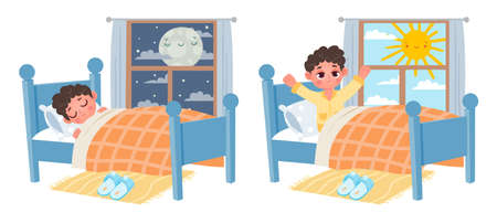 Cartoon kid boy sleep at night, wake up at morning. Child in bed and window with moon or sun. Sweet dreams and healthy sleep vector concept