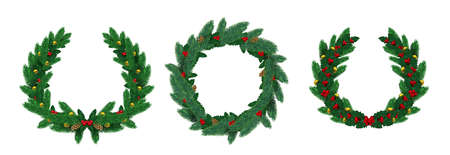 Realistic merry christmas natural wreaths with pine branches. Green fir wreath decorated with holly leaves, red berry and balls vector set. Celebration wreath realistic with garland illustration 向量圖像