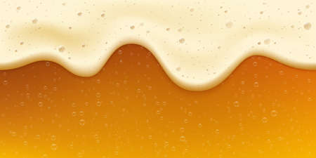 Realistic fresh golden beer with bubble and foam. Oktoberfest banner. Cool gold beverage. Craft beer festival celebration vector background
