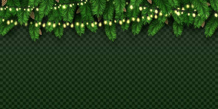 Realistic holiday decorative lights on christmas pine tree. Xmas banner with bulb garland and fir branches with pine cones vector background. Illustration of branch merry holiday garland 向量圖像