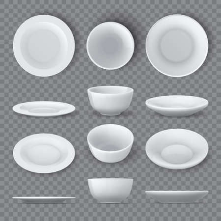 Dinner plates mockups. Realistic white ceramic dishes and empty bowl top, angle and side views. Porcelain round tableware dish 3d vector set