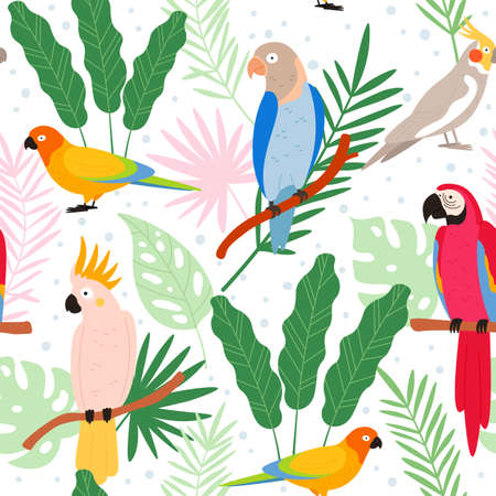 Colorful cartoon exotic parrots and tropical leaves seamless pattern. Cockatoo, macaw, colombia paradise bird. Flat wild parrot vector print