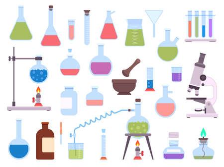 Flat chemistry laboratory glassware equipment for science experiment. Medical lab beaker, test tube, microscope, burner and flask vector set 向量圖像